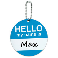 Max Hello My Name Is Round ID Card Luggage Tag