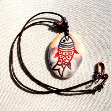 Bohemian Pottery Fish Necklace, Earthy Ceramic Jewelry, Colorful, Purple, Orange and Red