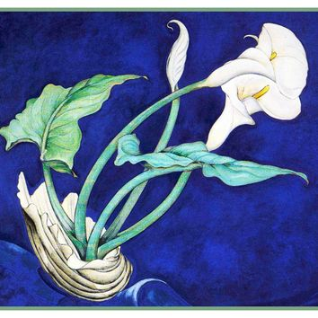 White Calla Lily Flowers Still Life by American Artist Charles Demuth Counted Cross Stitch Pattern