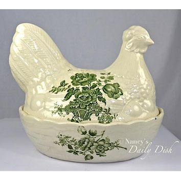 Vintage Green Transferware English Staffordshire Ironstone Nesting Hen Lidded Egg Basket Tureen Floral Toile Charlotte