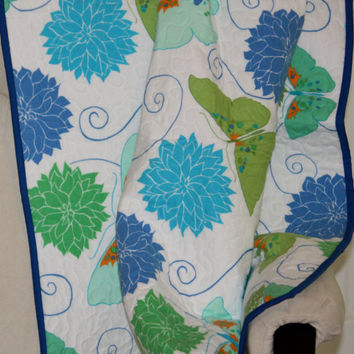 Butterflies and Blossoms Flannel Quilt Baby to Toddler quilted throw blanket