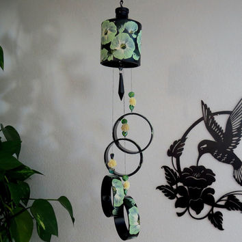Recycled Black bottle windchime, Black wind chime, Green flowers, yard art, patio decor, hand painted chime