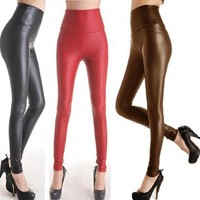 Faux Leather High Waisted Leggings from CherryKreations21