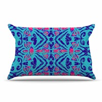 "Miranda Mol ""Ornamental Lace Blue"" Blue Pink Pattern Damask Mixed Media Digital Pillow Case"