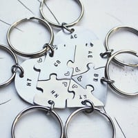 Hand engraved friendship heart puzzle keychain, shaped like a heart - perfect for 7 people, heart puzzle, 7 pieces