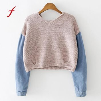 FEITONG Women Hoodie Sweatshirt Long Sleeve Knit Fur Demin Jean Blusa Short sweatshirt Top Hoodies Autumn Winter Jumper Pullover