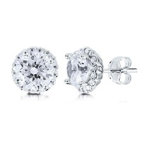 Sterling Silver Round Cubic Zirconia Solitaire Earrings w/ Side Stones #e735