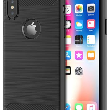 iPhone XS and X Case Shockproof with Carbon Fiber Design TPU Bumper