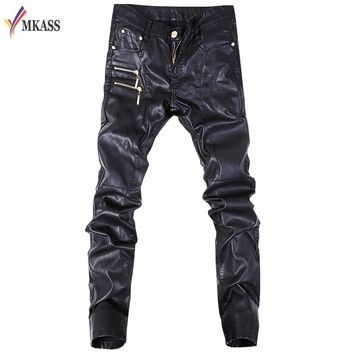 iker Skinny Men Gothic Punk Fashion Faux Leather Pants PU Buckles Hip Hop Zippers Black Leather Trousers Male
