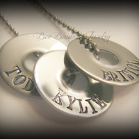 Mothers Day Gift - Hand Stamped Stainless Steel Small Washer Necklace - Family Jewelry