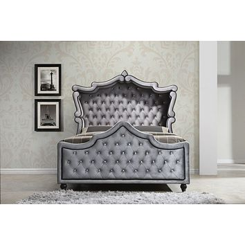 Hudson Grey Velvet Queen Canopy Bed