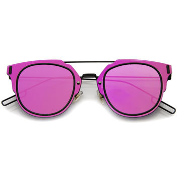 FIYAH WIRE FLAT FRAME MIRROR SUNGLASSES