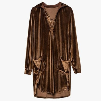 Velvet Oversized Shirt Dress