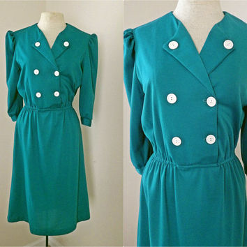 Vintage 70s 80s Blue Green Dress // Double Buttons // Elastic Waist // Medium Large