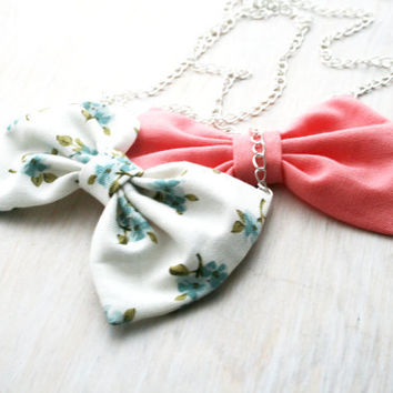 """Pastel bow tie necklaces. Set of Two fabric bow pendant. Silver chain 20""""  pink coral and flower print"""