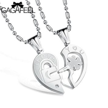 Fashion Stainless Steel Jewelry Men Women Lovers Pendant Necklace I love You Link Chain Lucky Clover Crystal Zircon Collier N553