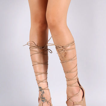 Breckelle Strappy Lace Up Platform Wedge