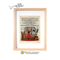 The Wolf disguised as Little Red Cap's grandmother dictionary print-Little Red Cap and Big Bad wolf print-Nursery print-by NATURA PICTA