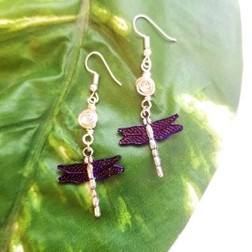Silver Rosebud and Purple Dragonfly Dangles