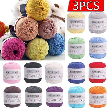 3PCS Children Baby kids Sweater hat scarf Natural Soft Cotton Hand Knitting Yarn Ball SKY