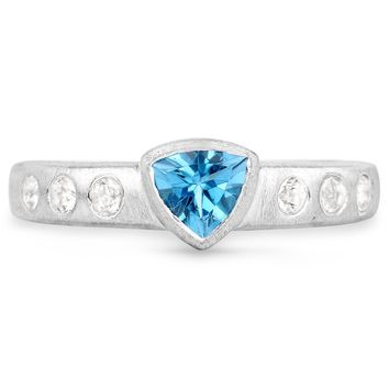 LoveHuang 0.67 Carats Genuine Swiss Blue Topaz and White Topaz Matte Finish Ring Solid .925 Sterling Silver With Rhodium Plating