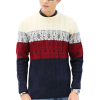 Color Block Embroidered Paneled Pullover Sweater