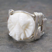 Carved Bone Bali Round Elephant Sterling Silver Wire Wrapped Ring ANY size