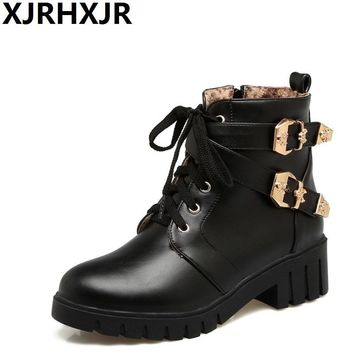 XJRHXJR 32-43 Casual Style Lace up Ankle Boots Square Med Heels Thick Platform Shoes Woman Young Girls Autumn Winter Zip Boots