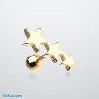 Colorline Triple Star Cartilage Tragus Barbell