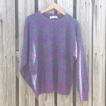 Vintage 80s Men's Sweater by JANTZEN - Purple Ugly Sweater - USA Made - Sz S / M
