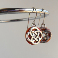 celtic knot earrings: orange - dangle earrings - irish earrings - celtic jewelry - endless knot - unique gift - mothers day