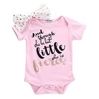 """""""And Though She Be But Little, She Is Fierce"""" Pink Bodysuit Set"""