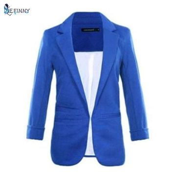 DCCKF4S Women Casual Slim Suit Blazer Jacket Coat 3/4 Sleeve Outwear Business Blazer