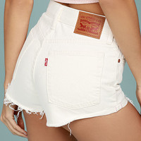 Levi's Wedgie Fit Off-White Distressed Denim Shorts