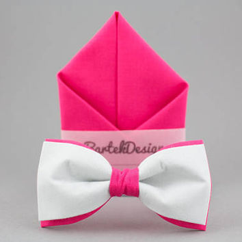 Pink Matching Set Gray Pink Bow Tie Pink Pocket Square Gray Bow Tie Gift for Men Wedding Bow Ties Bright Pink BowTie Groomsmen Bow Ties