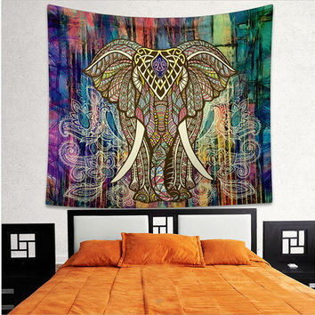 Elephant Mandala Tapestry Wall Hanging Square Tapestry