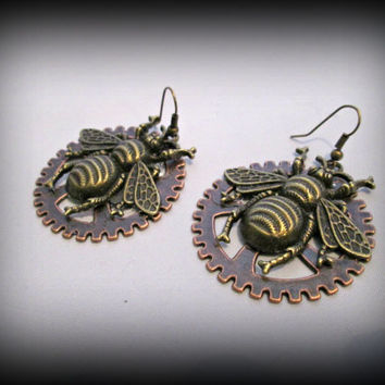 Large steampunk bee earring-bronze bee earring -bee dangle earring-watch parts earring