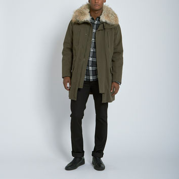 Yves Salomon Coyote Collar Rabbit Fur Lined Cotton Military Parka in Army