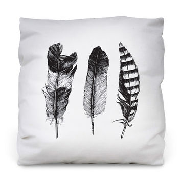 Feathered Trio Throw Pillow