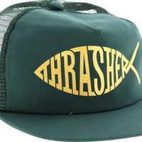 Thrasher Fish Mesh Hat Adjustable Green/Gold