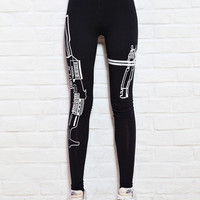 Hot Machine Gun/Work Out Print Black Soft Cotton Leggings