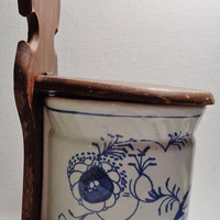 Large Vintage Hanging Salt Box Salt Cellar - White with Blue Paint - Salt Crock with Wood Lid -Flour Box - Exceptional Condition