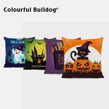Cartoon Party Pumpkin Pillow Cushion Covers Bat Car Spider Web Throw Pillow Covers Ghost Witch Velvet Pillowcases Sofa Decorate