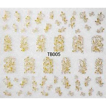 1X SELF ADHESIVE GOLD SILVER 3D NAIL ART METAL STICKER DECAL SLIDER TATTOO FLOWER CAMELLIA BUTTERFLY AZALEA TB04-06