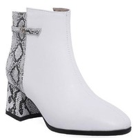 Multi Color Faux Snake Skin Ankle Booties - White