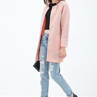 FOREVER 21 Collarless Scuba Knit Coat Pink