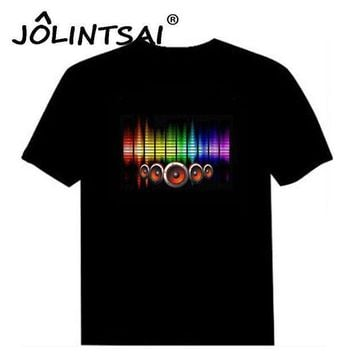 Hot Sale Sound Activated Led Cotton T Shirt Light Up And Down Flashing Equalizer El T Shirt Men For Rock Disco Party Dj Top Tee
