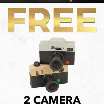 Black Friday Free PFSTAMPA Set Of 2 Photo Camera Rubber Stamps Gift with Purchase
