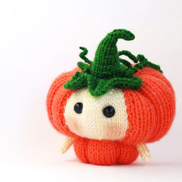 Halloween Pumpkin Doll. Knitting pattern (knitted round)