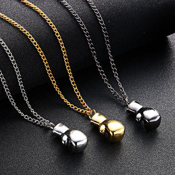 Alloy Gold/Silver/Black Mini Boxing Glove Necklace